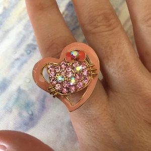 Hello Kitty Rhinestone Adjustable Ring